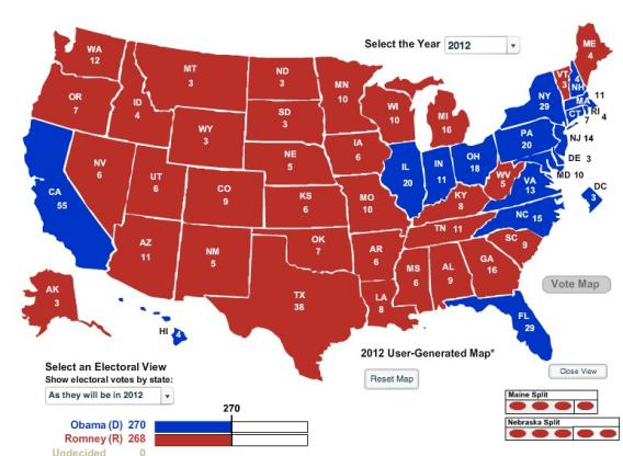 Geographically smallest Electoral College map.